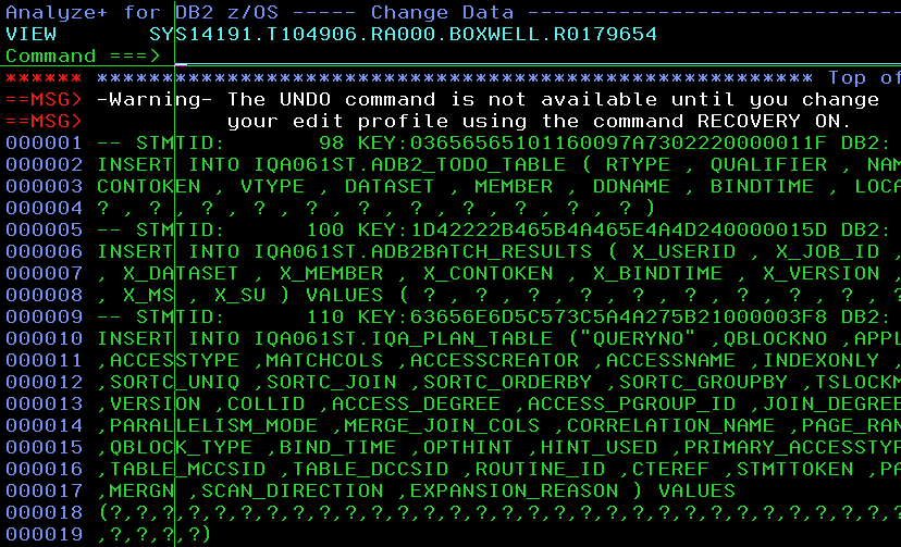 """News from the labs"" 2014-08 - A Million ways to kill your DSC - Screenshot3 - SQL Statements in a file for ISPF usage"